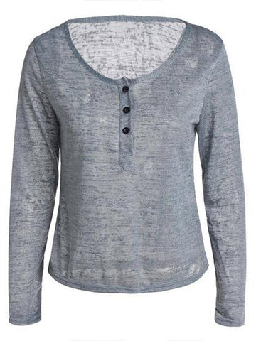Casual V-neck buttons long-sleeved Top