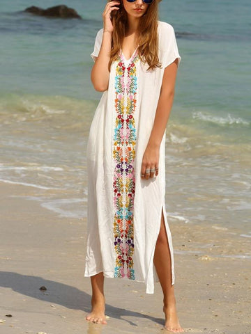 Beautiful White Bohemia Short Sleeve Deep V Neck Beach Maxi Dress