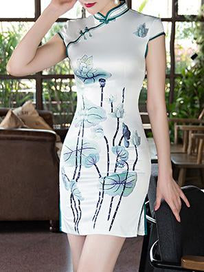 Flower Printed Short Cheongsams Dress