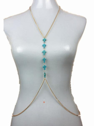 Bohemia Turquoise Gold Body Chain Accessories