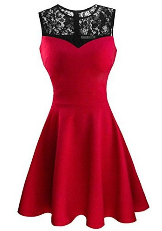 Rose Carmine Patchwork Lace Pleated Bodycon Round Neck Party Midi Dress