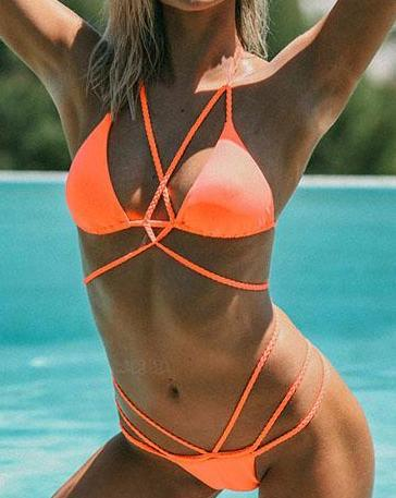 Multi Color Strappy Cross Bikini Top And Hipster Bottom Set