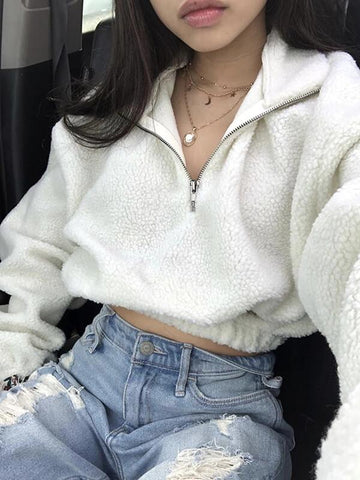 Long Sleeve Zipper High Neck Faux Lambswool Crop Tops Autumn Winter Women Fashion Solid Faux Lambswool Pullover