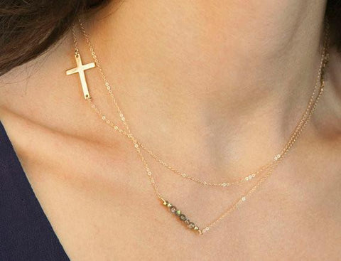 Delicate Multirow Chain Cross Pendant Necklace