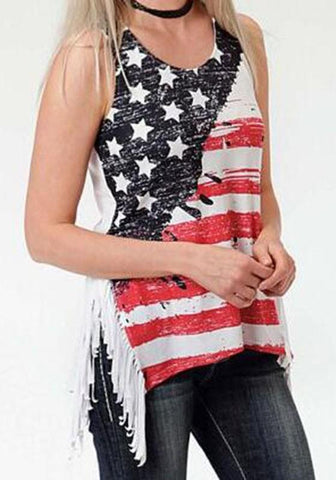 White American Flag Print Irregular Tassel Side Slit Casual Vest