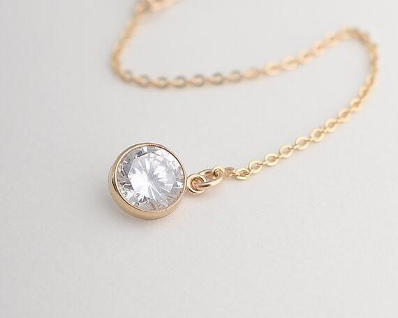 Golden Zircon And Bar Shape Chain Necklace
