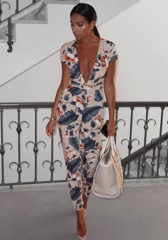 Khaki Floral Print Deep V-neck Short Sleeve High Waisted Long Jumpsuit