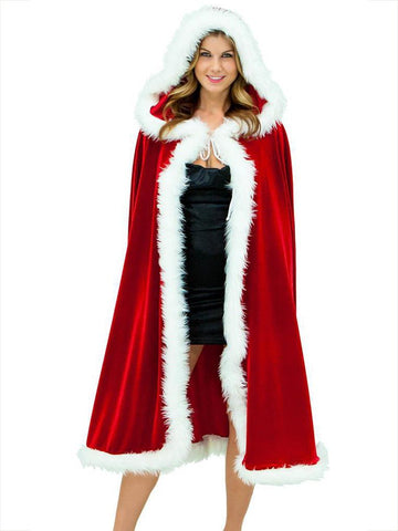 Christmas Red With Hat Cape Outwear