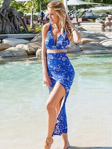 Lace V-Neck Backless Maxi Dress