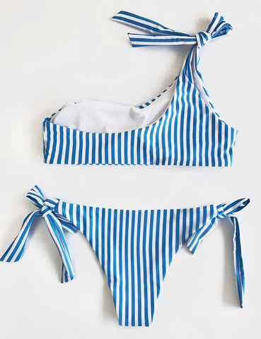 Cute suit Bandage Striped Bikini Set