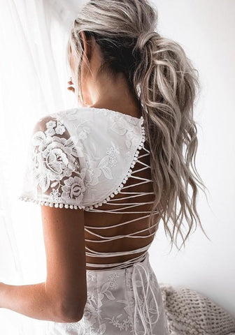 White Floral Lace Embroidery Cut Out Backless Lace-up Homecoming Wedding Party Mini Dress