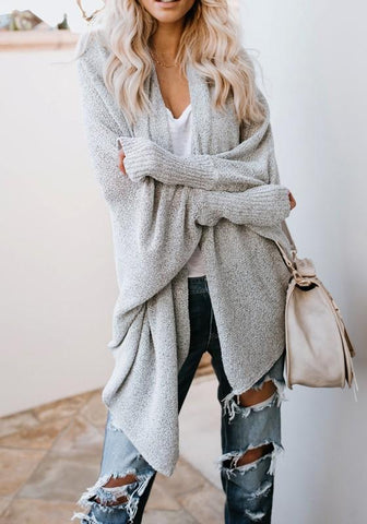 Grey Irregular High-low Oversize Going out Casual Cardigan Sweater