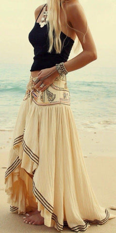 Beige Gypsy Boho Tribal Floral Bohemian Summer Beach High Low Long Skirt