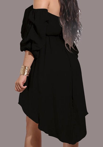 Black Sashes Draped Irregular Belt Off Shoulder Backless High-Low Party Midi Dress
