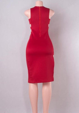 Red Plain Cut Out Zipper Plunging Neckline Midi Dress