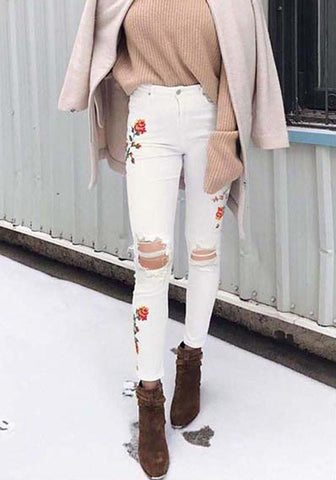 White Floral Cut Out Embroidery Ripped Destroyed Fashion Long Jeans