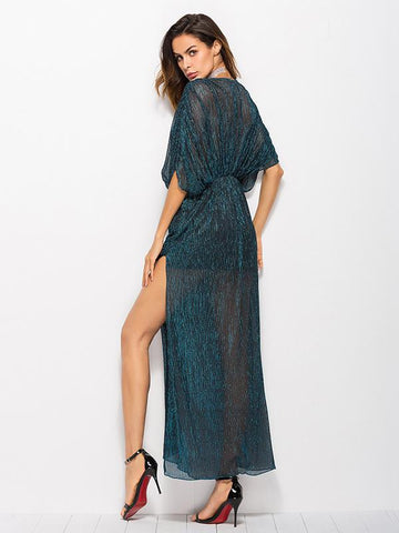 Batwing-sleeves Hollow Backless Maxi Dress