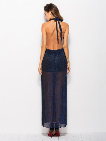 Solid Color Halterneck Backless Maxi Dress