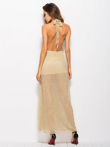Halterneck Hollow Backless Maxi Dress
