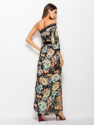 One-shoulder Printed Bohemia Maxi Dress