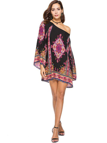 Floral Printed Long Sleeves Mini Dresses