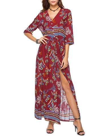 Floral V-neck Split-side Bohemia Dress