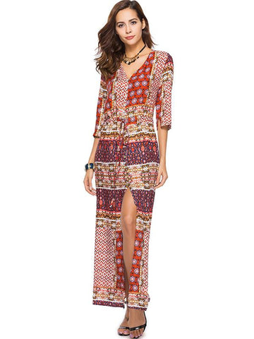 Printed Half Sleeve Split-side Bohemia Maxi Dress