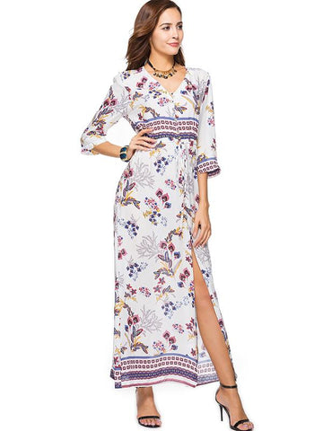 Printed Split-side Bohemia Dress
