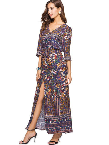 Floral Split-side Bohemia Maxi Dress
