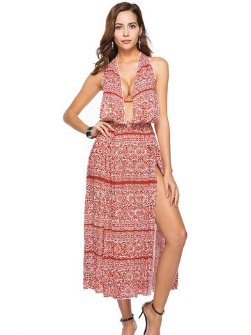 CS V-Neck Bohemia Maxi Dress