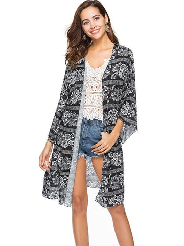 Printed Long Sleeves Cover-Up Top
