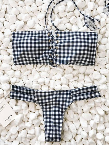 Hit Summer bandage Gingham Bikini Set
