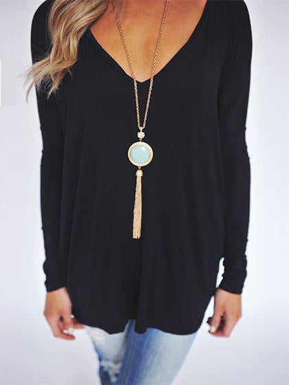 Casual V Neck Solid Color Long Sleeve Loose Top