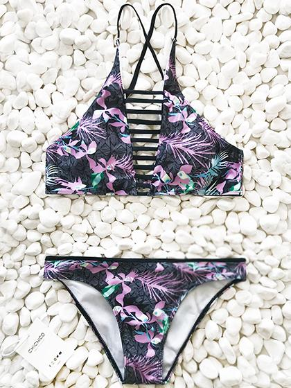 Floral Padded Stretchable Halter Bikini