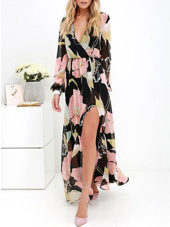 Pretty Side Split Floral Printed V Neck Long Sleeves Maxi Dress