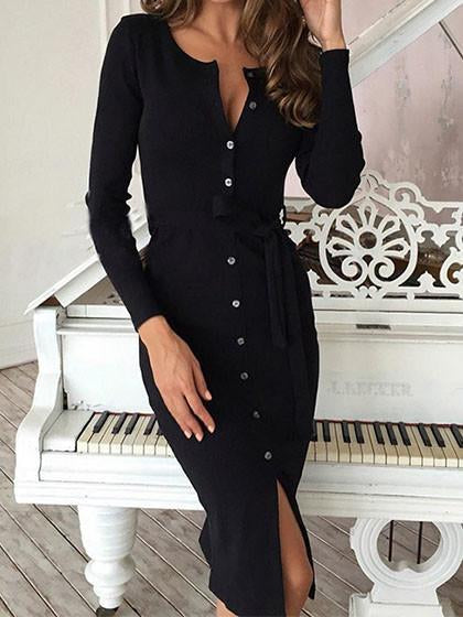 Fashion Bodysuit Ribbons Round Neckline Solid Color Dress