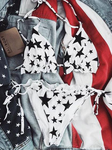Fashion Black Stars Bikini Set