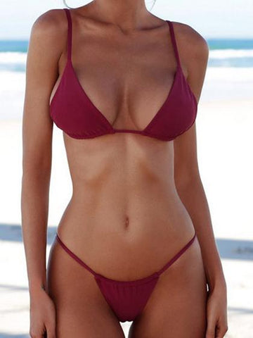Simple Plain Hot Bikini Set