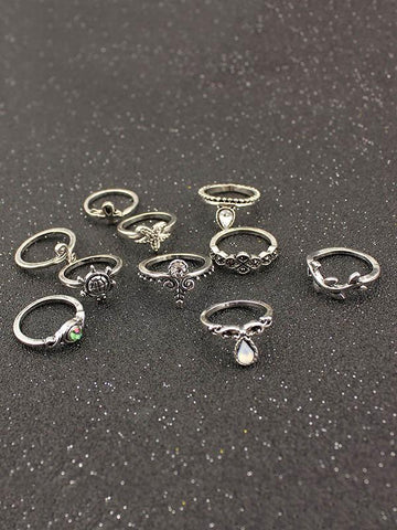 Beautiful 10pcs Vintage Rings Accessories