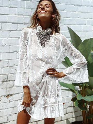 Embroidered Lace Beach Bikini Cover-up