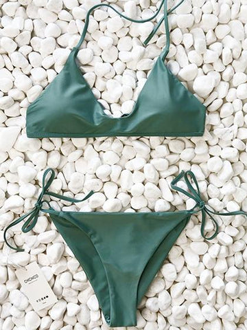 Summer Walk Solid Bikini Set