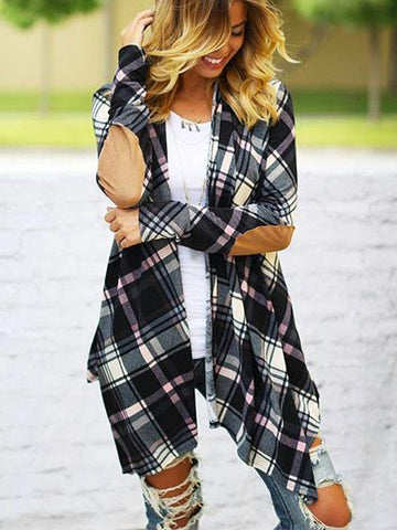 Stylish Spliced Plaid Long Sleeve Cardigan