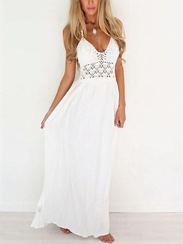 Lace High Rise White Lace up Dress