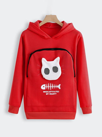 Winter Women Hooded Sweatshirts Women's Sweatshirt Animal Pouch Hood Tops Carry Cat Breathable Pullover Sweatshirts