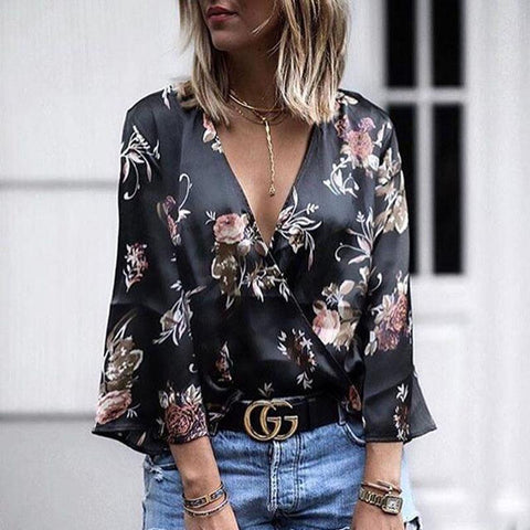 New Deep V Neck Floral Printed Bell Sleeve Blouses