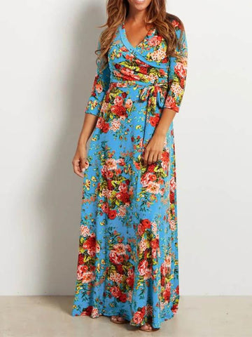 Floral Printed V-neck Maxi Dress