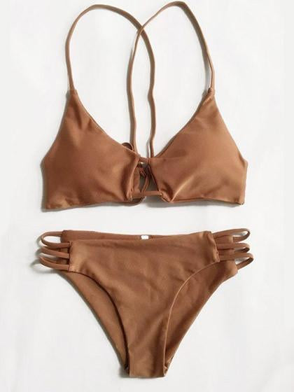 Sexy Bikini Brown Swimsuit Top and Bottom Bikini Set