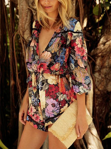 Bohemia Floral V-Neck Long Sleeves Romper