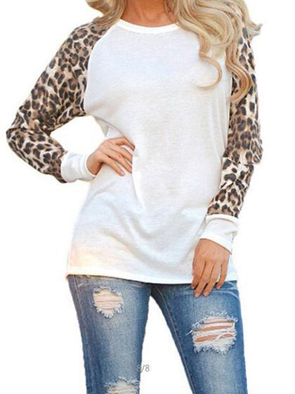 Casual Spliced Leopard Print Top