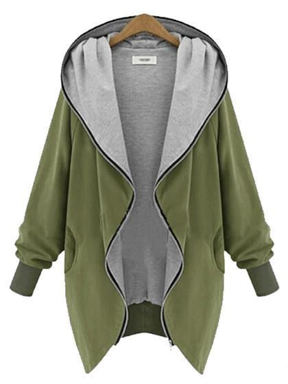 Casual Zipper Hoodie Cape Coat